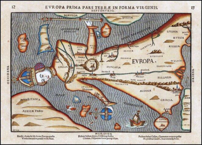 Europa Prima Pars Terrae, 1581, Hanover, de Heinrich Bunting.