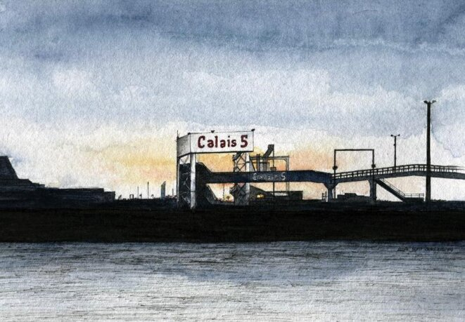 A sketch of a ferry terminal at Calais. © Elisa Perrigueur