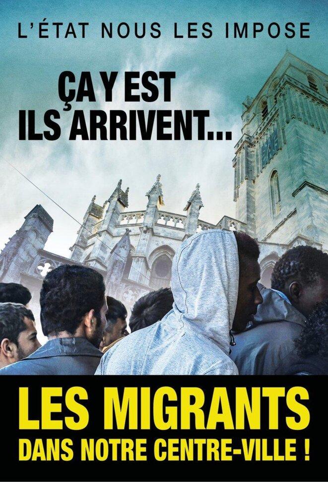 Affiche anti-migrants de la ville de Béziers, octobre 2016. Cette affiche met en scène les thèses du grand remplacement de l'extrême droite. Production de la mairie dirigée par Robert Ménard.