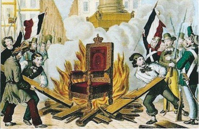 Le trône de Louis-Philippe brûlé place de la Bastille (24 février 1848).