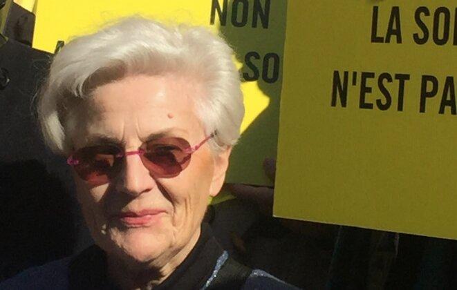 Martine Landry devant le tribunal de Nice, mercredi 14 février 2018. © M.H