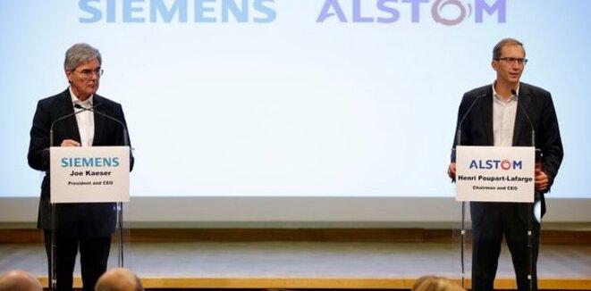 Les PDG de Siemens et d'Alstom lors de l'annonce de la fusion en septembre dernier. © Alstom