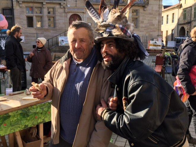 Christian Vincent et un militant anti-Cigéo, le 13 février 2018 (JL)