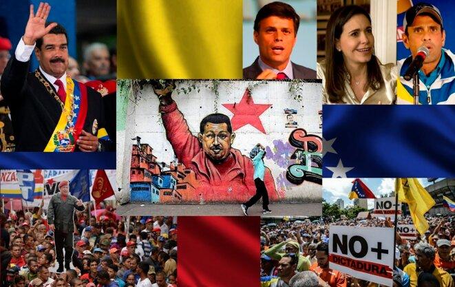 Nicolas Maduro en haut à gauche, manifestation pro gouvernementale en bas à gauche, Leopoldo Lopez, Maria Machado et Henrique Capriles en haut à droite, manifestation de l'opposition en bas à droite © Montage réalisé avec des photos sur le net.