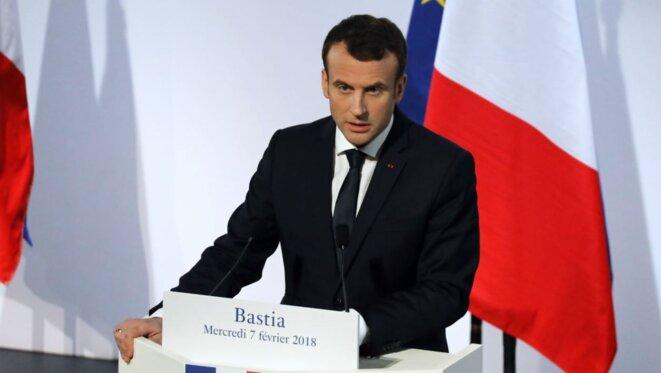Le président Emmanuel Macron pendant son discours en Corse.