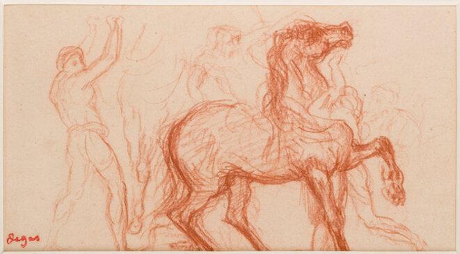Edgar Degas, Cavalier, soldats et cheval. Étude pour La Fille de Jephté (vers 1859-1861) © Muma Le Havre / Florian Kleinefenn