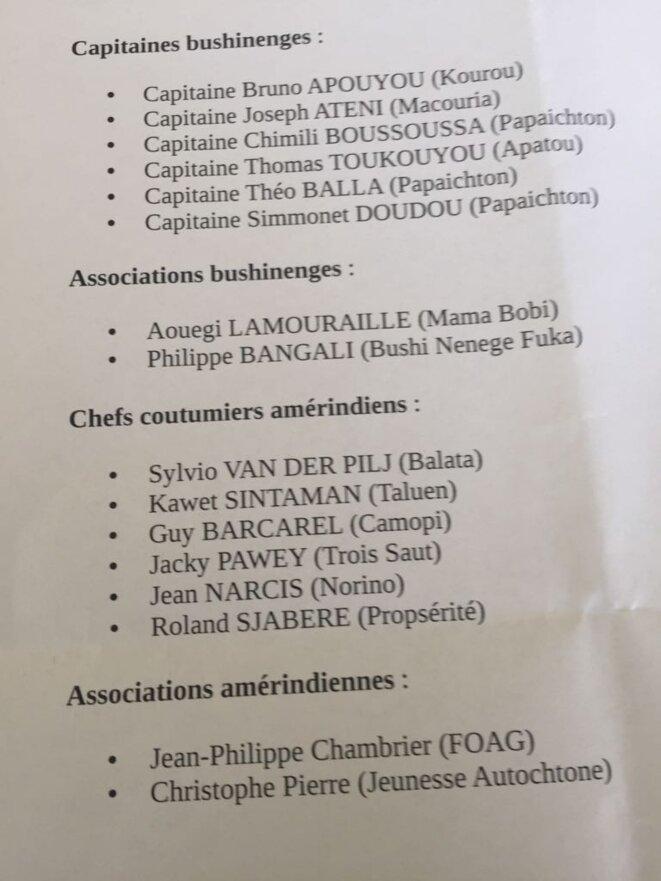 La composition du Grand Conseil Coutumier de la Guyane.