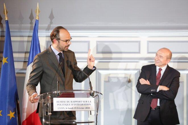Édouard Philippe et Gérard Collomb à Lyon, le 19 février. © Florian David/Matignon