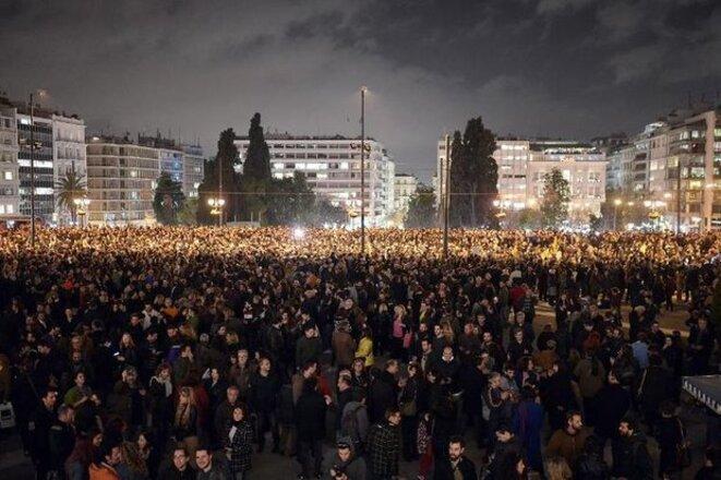 Manifestation de soutien au gouvernement grec à Athènes, le 5 février 2015 (Photo Louisa Gouliamaki. AFP)