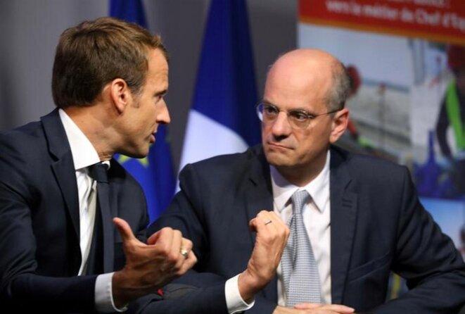 Emmanuel Macron et Jean-Michel Blanquer, le 4 octobre 2017. © Reuters