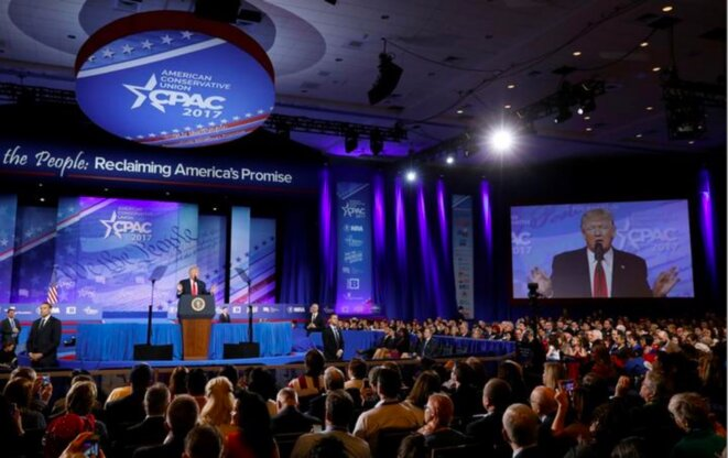 24 février 2017. Donald Trump, en fonctions depuis un mois, fait son premier discours de président à la CPAC. © Reuters
