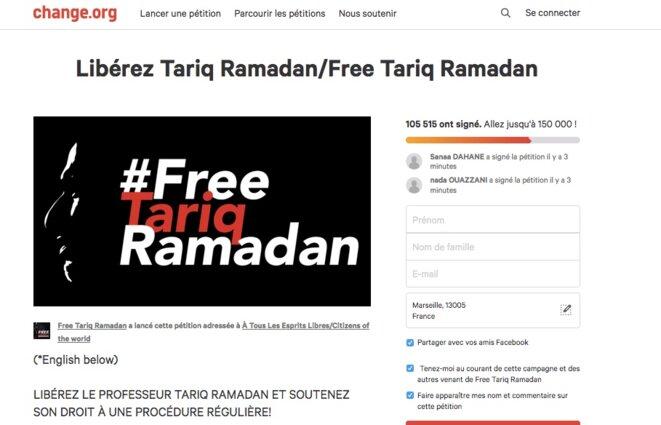 Pétition en faveur de la libération de Tariq Ramadan.