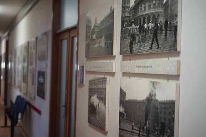Dans les couloirs de la CGIL à Gênes © AP
