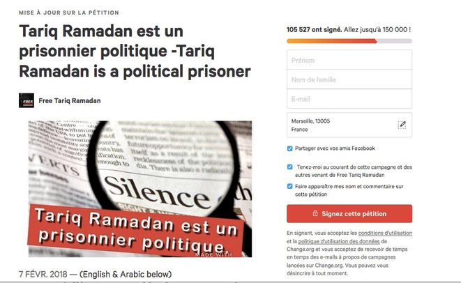 Autre pétition en faveur de la libération de Tariq Ramadan le présentant cette fois comme un prisonnier politique.
