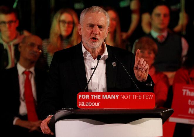 Jeremy Corbyn lors d'un meeting à Londres le 25 janvier 2018. © Reuters