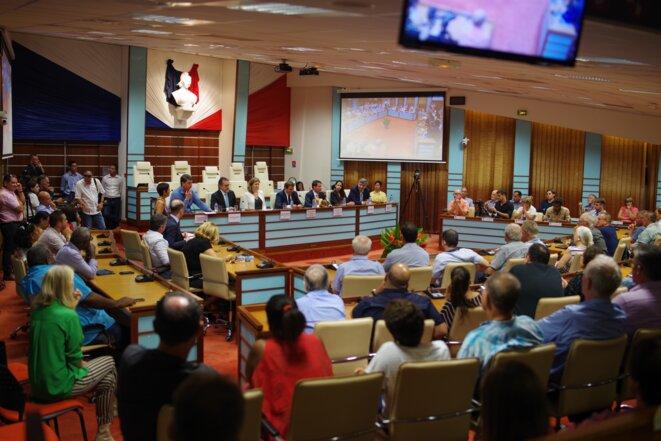 Le Congrès de Nouvelle-Calédonie, où les députés de la mission d'information ont mené un débat public mardi 20 février. © JS