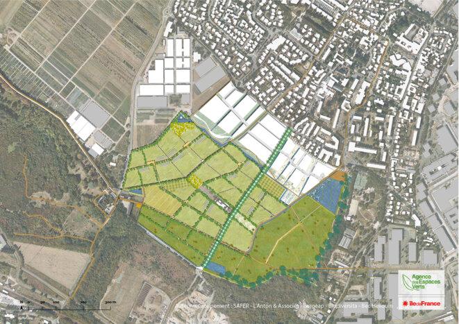 Plan de masse du projet de la plaine de Montjean © Copyright : SAFER / L'Anton et Associés / Burgeap / Biodiversita / Bec Hellouin