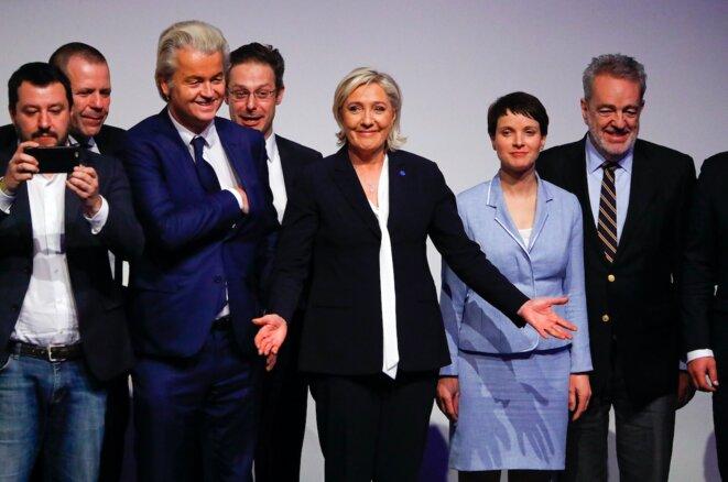 Marine Le Pen et ses alliés européens le 21 janvier 2017, à Coblence. © Reuters