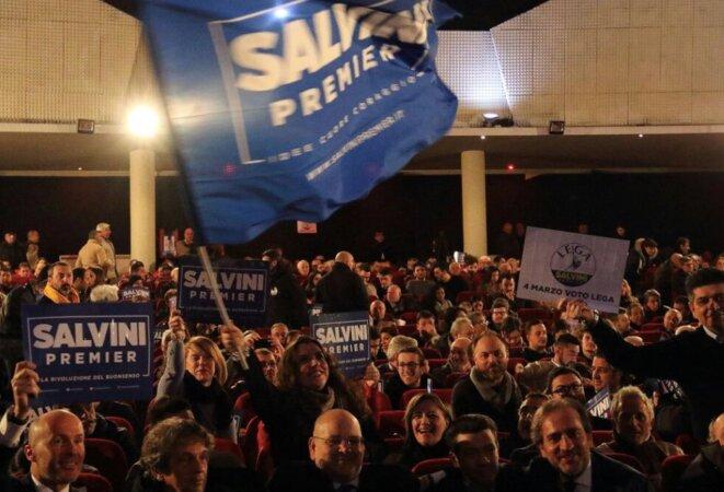 Au théâtre San Marco de Caserte, lors du meeting de Matteo Salvini, le 21 février 2018. © CasertaKeste press