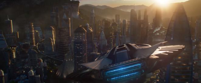 L'arrivée au Wakanda, avec le minaret de Tombouctou au bout de l'aile gauche, Black Panther trailer