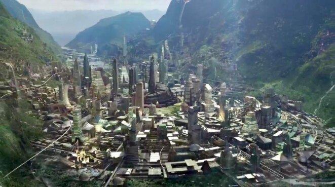 Vue globale de la capitale du Wakanda, Black Panther, image promotionnelle