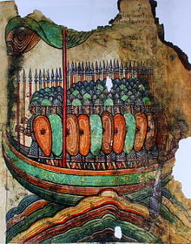 Attaque viking, image de 1100, faite dans l'abbaye de Saint-Aubin.