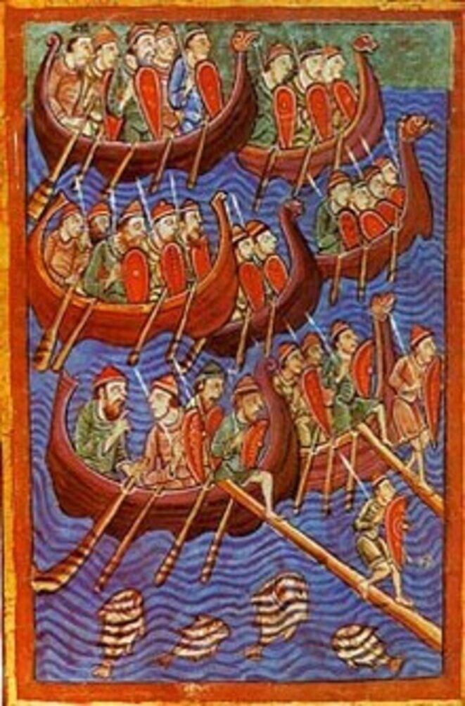 Représentation des Vikings datant du XIIe siècle : les Danois sur le point d'envahir l'Angleterre.