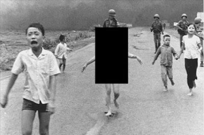 La photo prise en 1972 par le Vietnamien Nick Ut Cong Huynh (Associated Press), censurée car  je ne veux pas risquer 3 ans de prison. © Nick Ut Cong Huynh