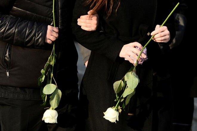 Lors des funérailles de Jan Kuciak, dans le village de Stiavnik (Slovaquie), samedi 3 mars. © Reuters
