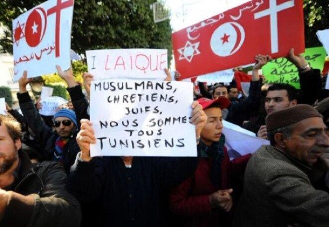 Manifestation pour la laicité a Tunis en 2011