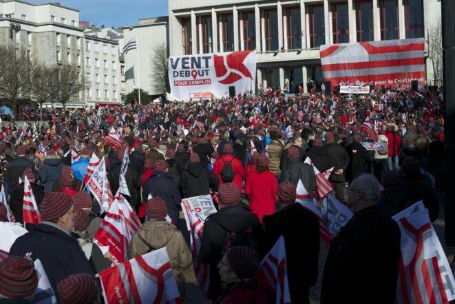 Manifestation pour le crédit mutuel Arkéa à Brest, en 2016
