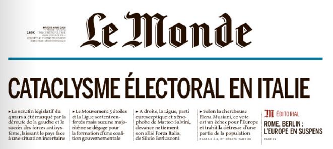 Le Monde du 6 mars 2018