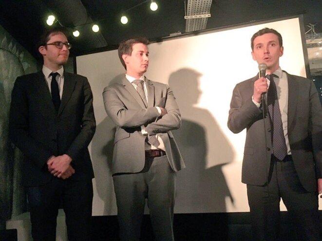 Les députés LREM Pierre Person, Pacôme Rupin et Aurélien Taché lors d'une soirée consacrée à la politique migratoire du gouvernement, le 5 mars 2018 à Paris. © LREM Paris XIe
