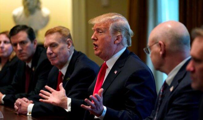 Le 1er mars à la Maison Blanche, Trump annonce la hausse des droits de douane. © Reuters