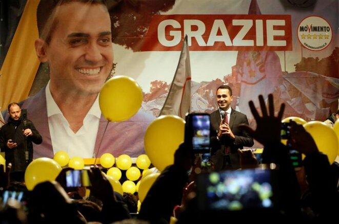 Luigi Di Maio s'adresse aux militants du M5S, le mardi 6 mars à Pomigliano d'Arco, près de Naples. © Reuters