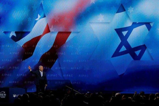Benjamin Netanyahou devant l'Aipac, le lobby pro-israélien aux États-Unis, mardi 6 mars à Washington. © Reuters