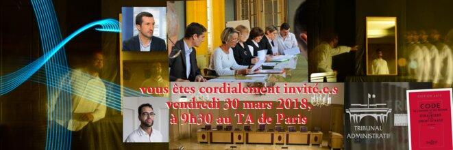 Audience au TA de Paris de Kamel DAOUDI, le 30 mars 2018 à partir de 9h © Kamel Daoudi