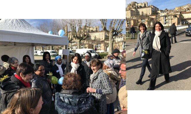 Catherine Séguin, Préfète du Gers, accompagnée de Nicole Pascolini, déléguée aux droits des femmes, rencontre les Marcheuses au marché d'Auch [Photos YF]