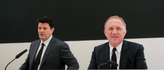 François-Henri Pinault, PDG de Kering, et son bras droit, Jean-François Palus (à gauche), numéro 2 du groupe. © Reuters