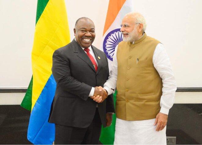 11-03-2018-En marge du Sommet ISA, rencontre ALI BONGO ONDIMBA & le Premier ministre indien, M. NARENDRA MODI