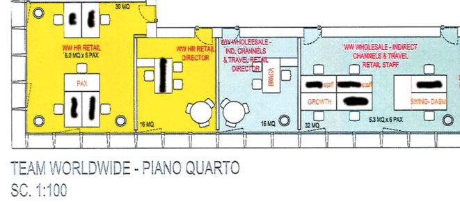 Le bureau de Piero Braga, directeur des ventes chez Gucci, au siège de la marque à Milan. © EIC