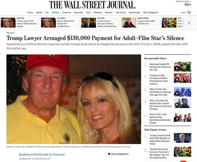 A la Une du site du « Wall Street Journal ».