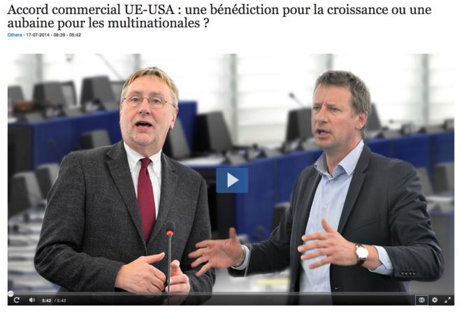 Accord commercial UE-USA : une bénédiction pour la croissance ou une aubaine pour les multinationales ? Si M. Jadot (verts/ALE) et M. Lange (S&D) veulent tous deux protéger les normes européennes, ils ne sont pas d'accord sur les priorités et les lignes rouges concernant un accord commercial UE-USA. © EuroparlTV