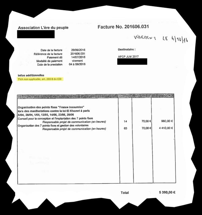 Une des factures de l'association L'Ère du peuple. © Document Mediapart
