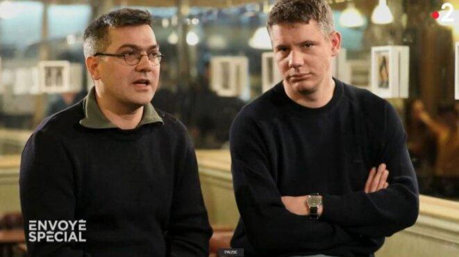 Julien Coupat et Mathieu Burnel, dans « Envoyé spécial ». © France 2