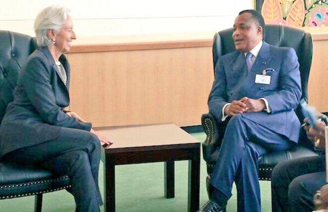 Christine Lagarde en visite auprès de Sassou Nguesso en décembre 2017