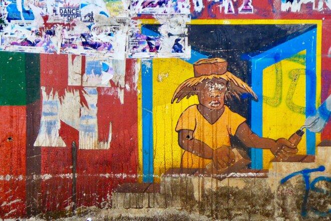 Peinture murale, quartier de Mtsapere, Mamoudzou © daniel gros