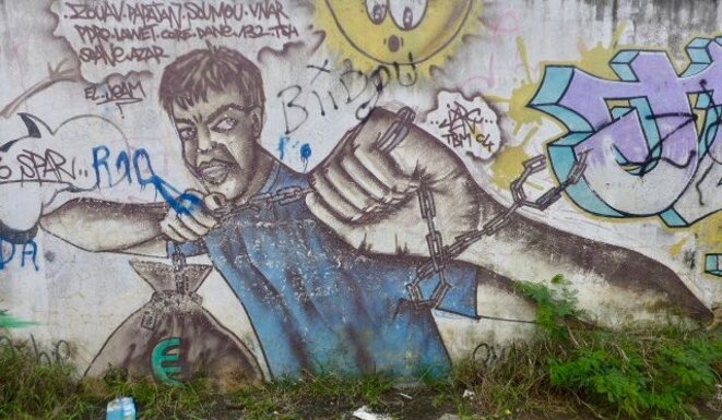 Peinture murale, quartier de Cavani, Mamoudzou © daniel gros