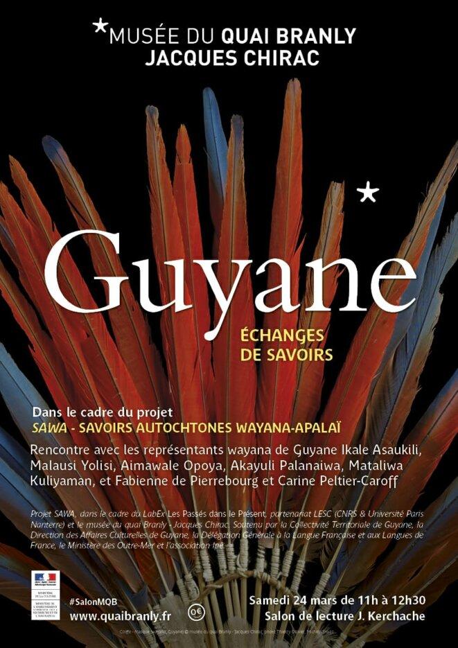 """Affiche du projet d'échange de savoirs SAWA : """"Savoirs autochtones WAYANA-APALAÏ"""". Au musée du quai Branly. Samedi 24 mars de 11h00 à 12h30"""
