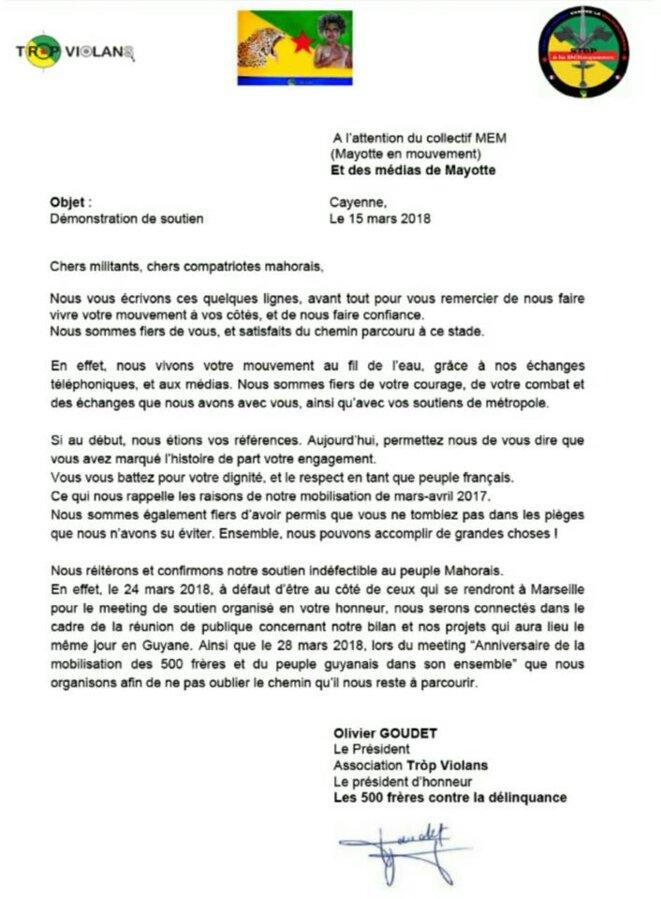 La lettre de soutien d'Olivier Goudet, le président de Tròp Violans et président d'honneur de l'association 500 frères contre la délinquance
